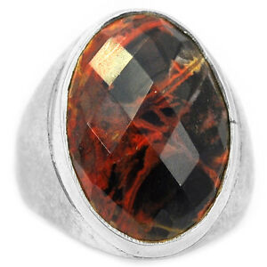 Faceted-Pilbara-Jasper-925-Sterling-Silver-Ring-Jewelry-s-7-5-PJFR88
