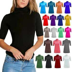 Ladies-Turtle-Polo-Neck-Top-Womens-Short-Sleeve-High-Neck-T-Shirt-Plus-Size-8-26