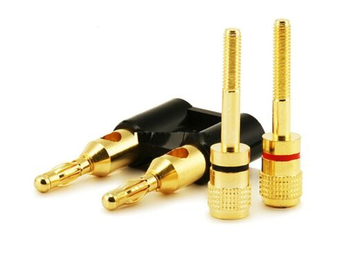 Black LOT OF 5 Pairs Dual High-Quality Gold Plated Copper Speaker Banana Plugs
