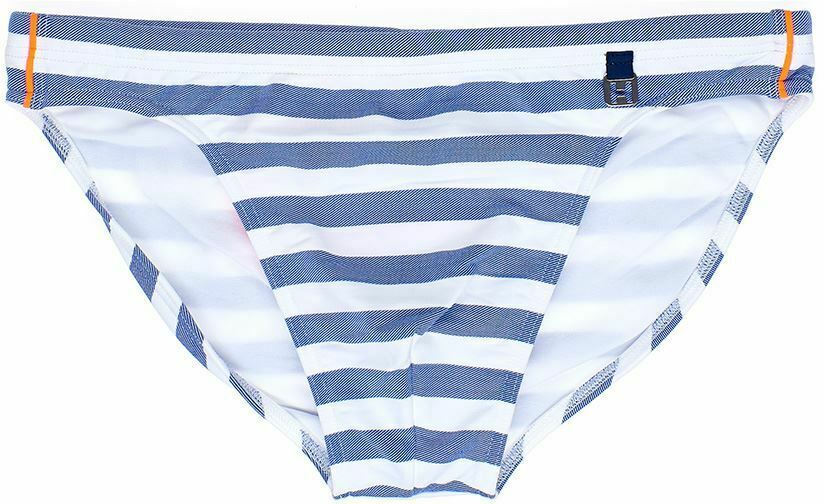 HOM Rivages Swim Micro Briefs men's swimwear slip male bikini stripes bluee white