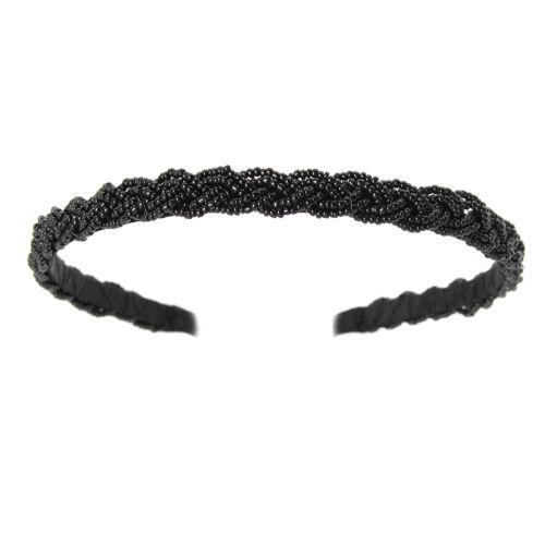 Haarreif mit geflochtenen Pailetten Haarschmuck Kopfschmuck hair Schwarz