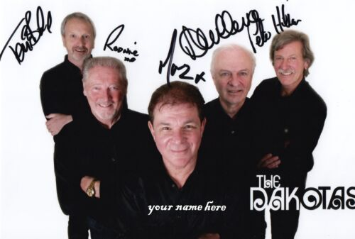 """Personalised hand signed photo of /""""The Dakotas/"""" 60s band today"""