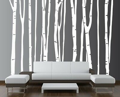 Large Wall Birch Tree Decal Forest Vinyl Sticker Removable Nursery (9 trees)