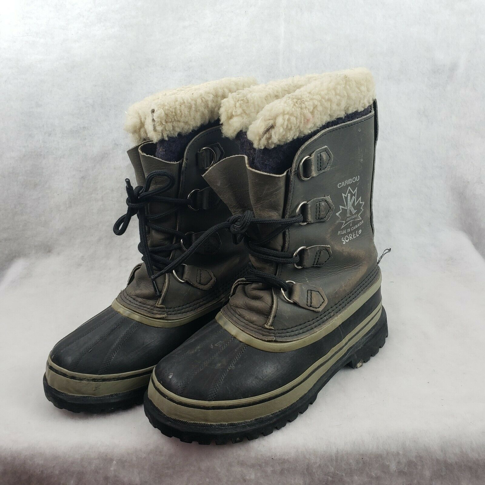 Sorel Boots Size 8 Gray CARIBOU Snow Waterproof Warm Wool Liners see description