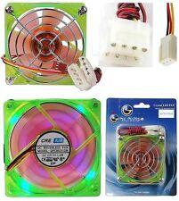 80mm*25mm Ball Bearing Case Fan 12VDC/12V 4/3pin ATX {UV GREEN+4LED ORANGE+GRILL