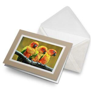 Greetings-Card-Biege-Lovebirds-in-Tree-Love-Bird-Parrot-21997