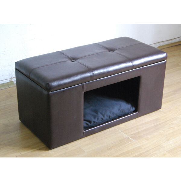 Surprising Dog House Bench Ottoman Pet Cat Bed Storage Foot Stool Furniture Faux Leather Uwap Interior Chair Design Uwaporg