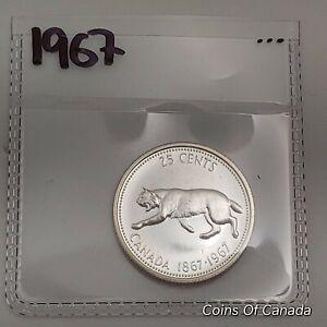 1967-Canada-Silver-25-Cents-UNCIRCULATED-Coin-1867-1967-Bobcat-coinsofcanada