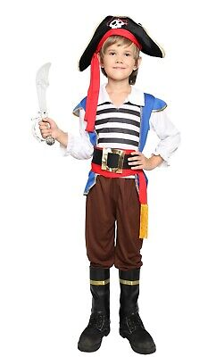 Swashbuckler Boy Pirate Caribbean Buccaneer Fancy Dress Halloween Child Costume