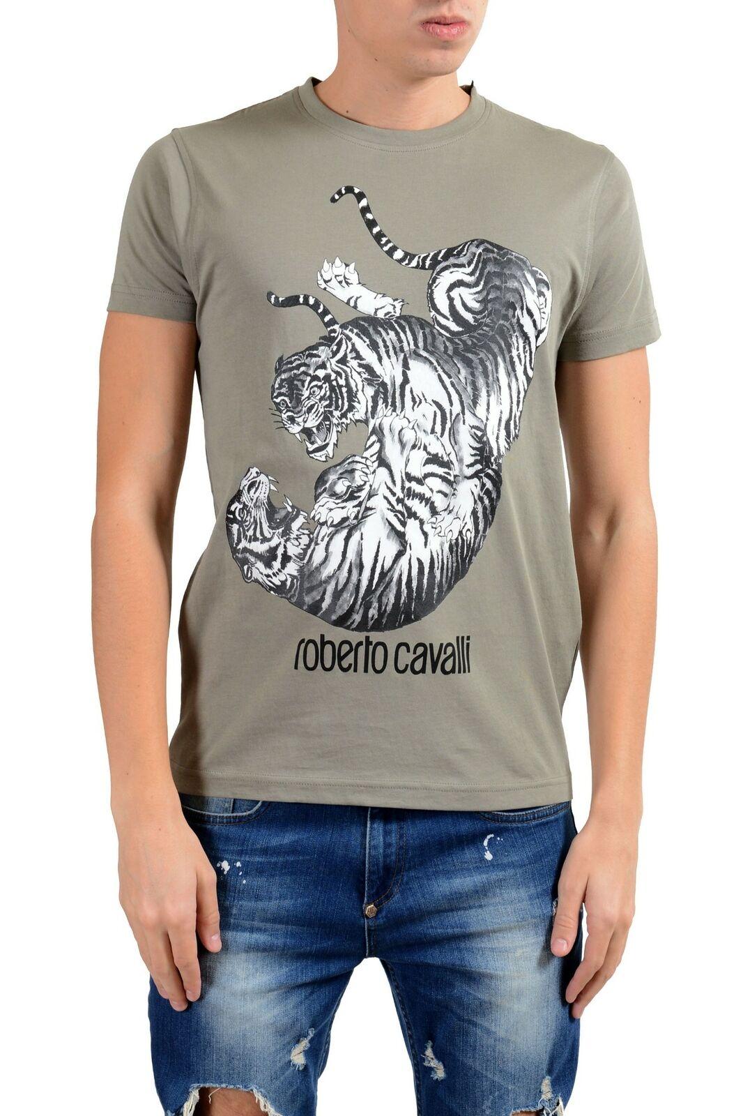 Roberto Cavalli Uomo Grigio Illustrato Combattimento Girocollo Girocollo Girocollo T-Shirt Taglia 152f85