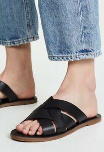 MADEWELL Boardwalk Woven Black Leather Sandals Slides Flats Women's Size 9.5 EUC