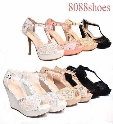 Wmone's Sexy Rhinestone Lace Mesh Peep Toe Stiletto & Wedge Heel Bridal Shoes