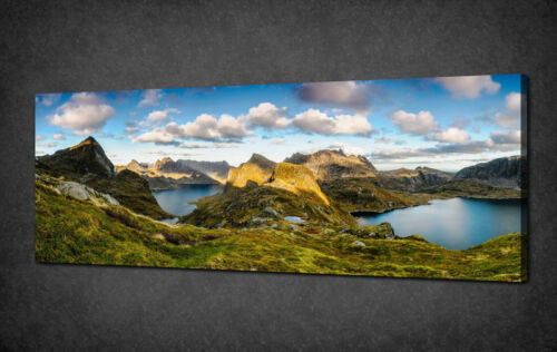 NORWAY MOUNTAINS LAKE PANORAMIC LANDSCAPE CANVAS PRINT READY TO HANG