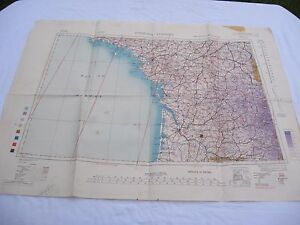 alte-Karte-2-WK-der-US-Army-von-1944-BORDEAUX-LIMOGES