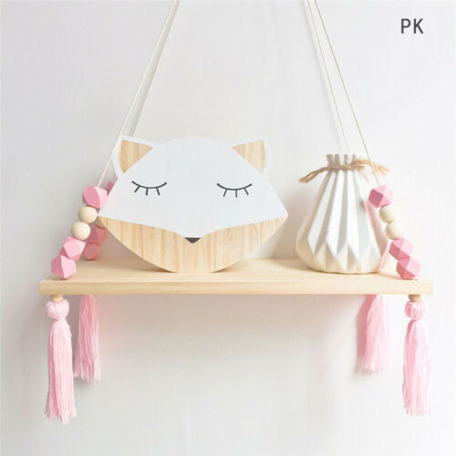 UK Wall Hanging Wooden Shelf Rope Swing Shelves Baby Kids Bedroom Storage Decor