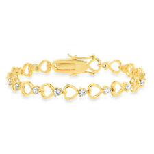 """Simulated CZ Heart Bracelet in Yellow Gold-Plated Brass - 7.5"""""""
