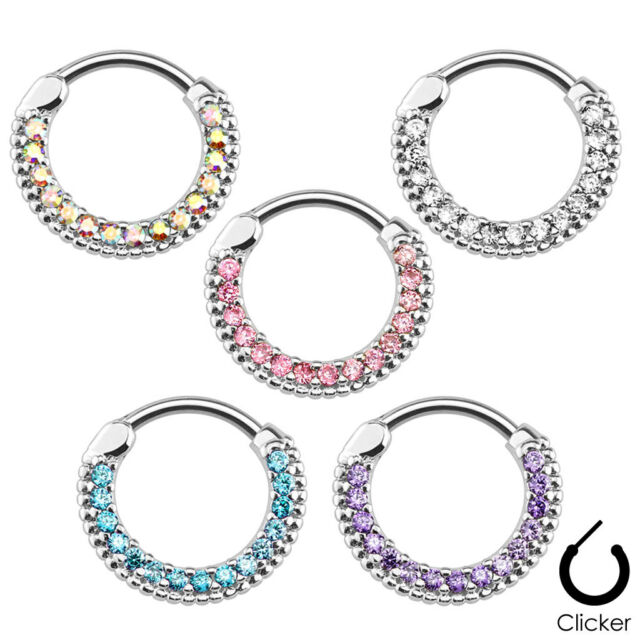 1pc Round Paved Gems Septum Clicker 316L Surgical Steel 16g 14g Nose Ring