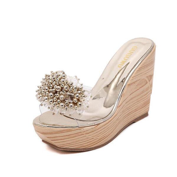 Sandali eleganti sabot zeppa ciabatte 8 cm oro comodi simil pelle eleganti  9807 1c7f3ae57b42