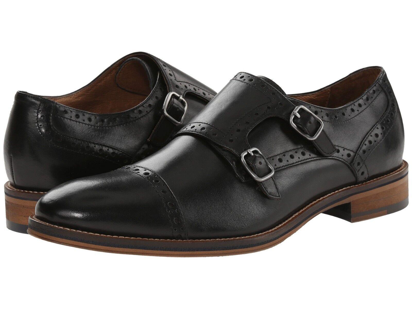 Johnston Murphy para hombre 20-2237 Conard & Negro Zapato de piel de becerro doble monje italiano