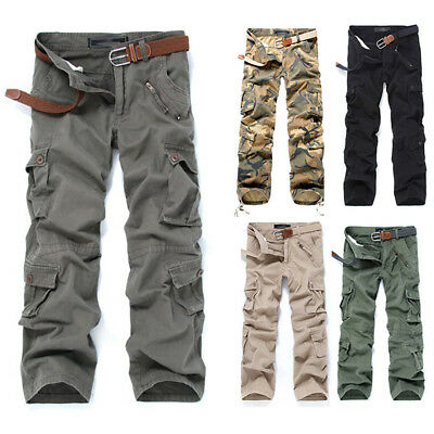 Combat Men/'s Cotton Cargo Army Long Pants Military Camouflage Camo Trousers