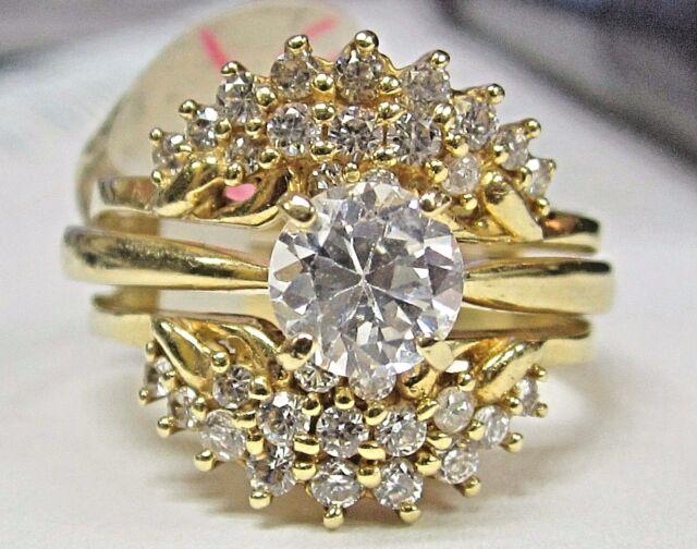 Ah3 Vintage 14k Yellow Gold 3 Pc Wedding Bridal Engagement Ring Set