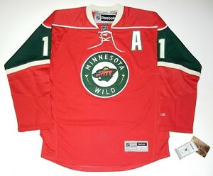 brand new 374c0 d8c8c Details about ZACH PARISE MINNESOTA WILD REEBOK PREMIER RED JERSEY NEW WITH  TAGS