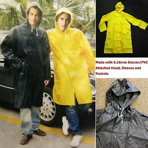 f597a34653a7f New Mens Rain Coat Heavy Duty Long PVC Rain Wear Rain Jacket Sizes M ...