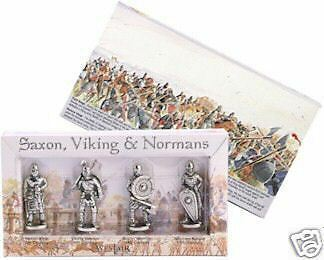 4 Viking, Norman, Saxon Metal Figures Presentation Box 1066 Danes Hastings bnip