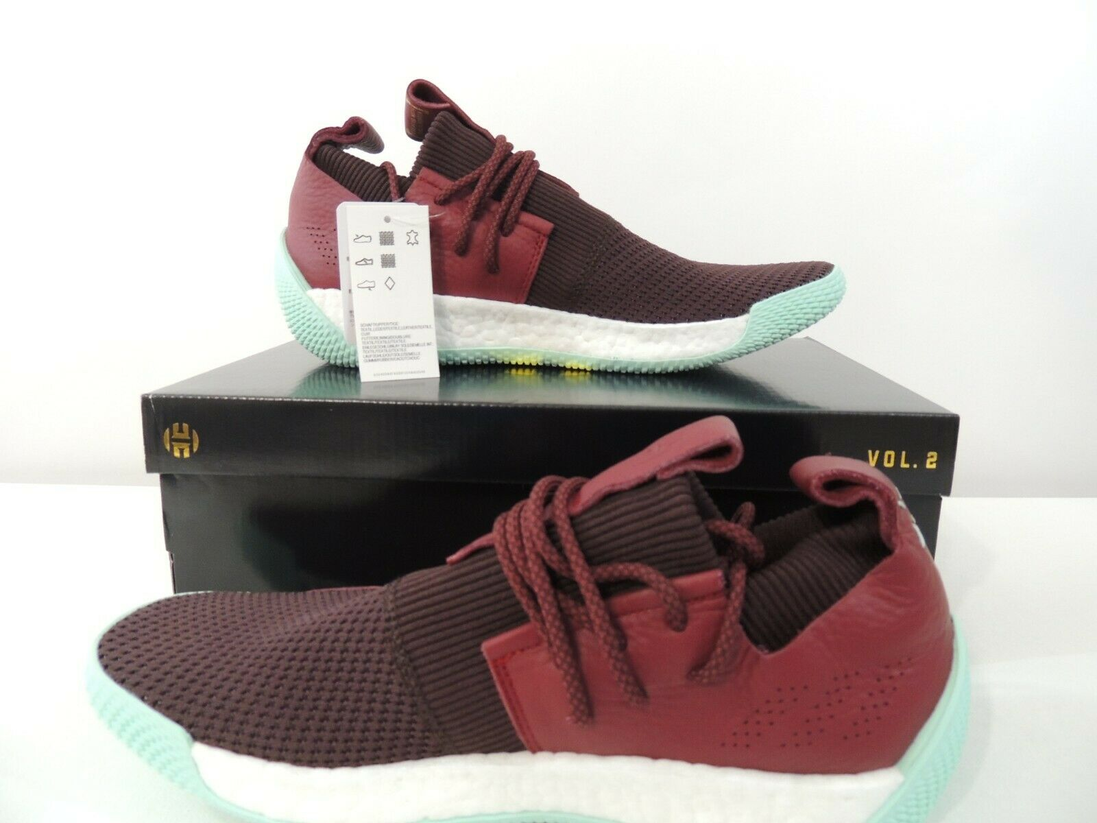 Adidas Mens Harden LS 2 Lace CG6277 Maroon Red Mint White shoes Size 11-11.5-13