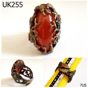 Antiquities Dynamic Filigree Ivy Wrapped Rare Old Roman Carnelian Bronze Ring Ring Size 7 Us #uk255a Antiques