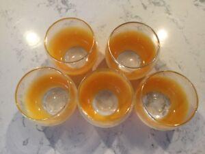 5-Vintage-6-oz-West-Virginia-Orange-Frosted-Roly-Poly-Juice-Glasses-Glassware