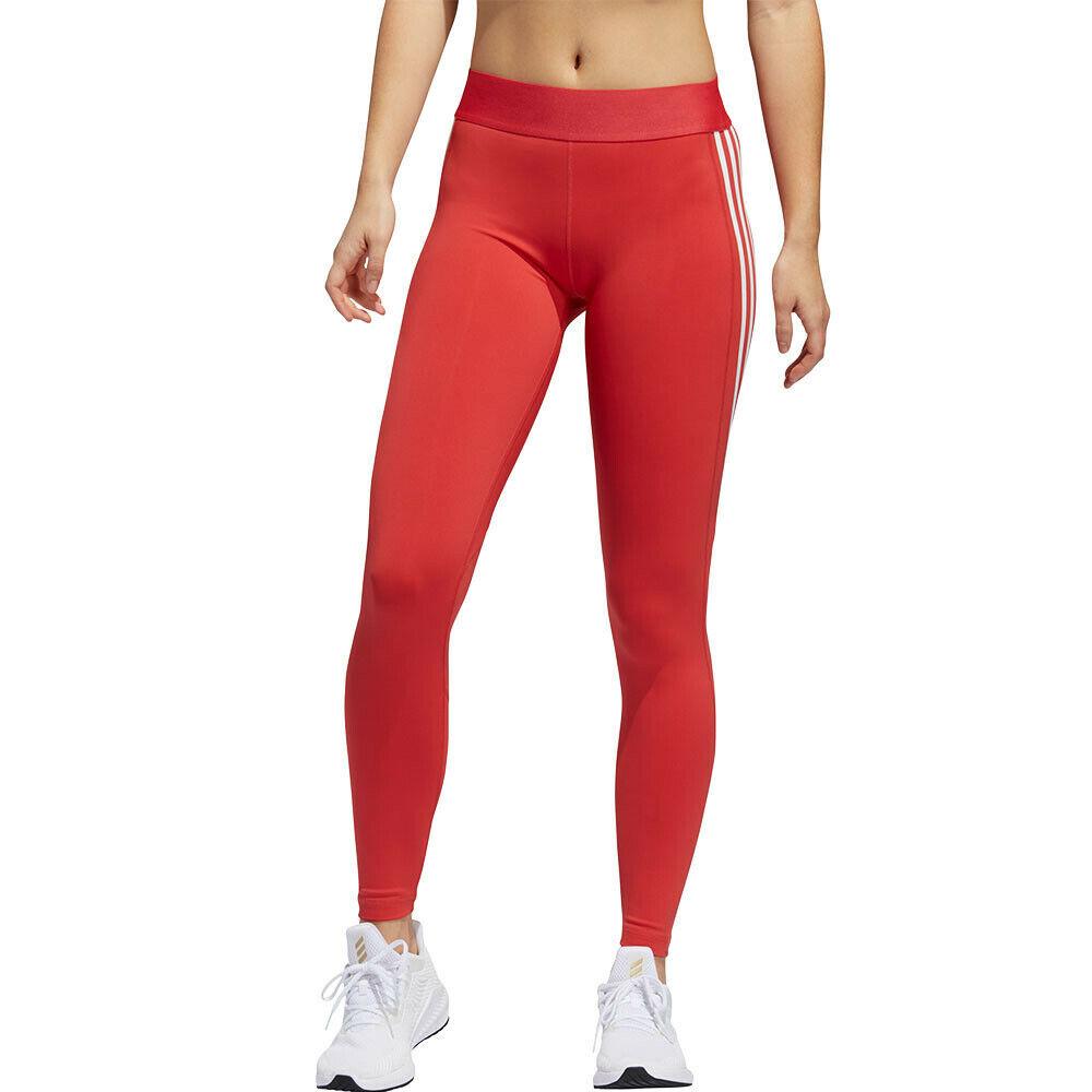 Adidas Femme Alphaskin 3-rayures Collants Bas Pantalon De Sport Rouge