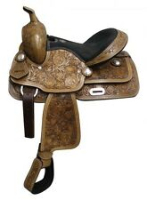 """13"""" Kids Youth Leather Barrel Racing Racer Tooled Cross Heart Peace Stars Saddle"""