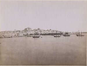 Panorama Da Syracuse Siracusa Italia Vintage Albumina Ca 1875