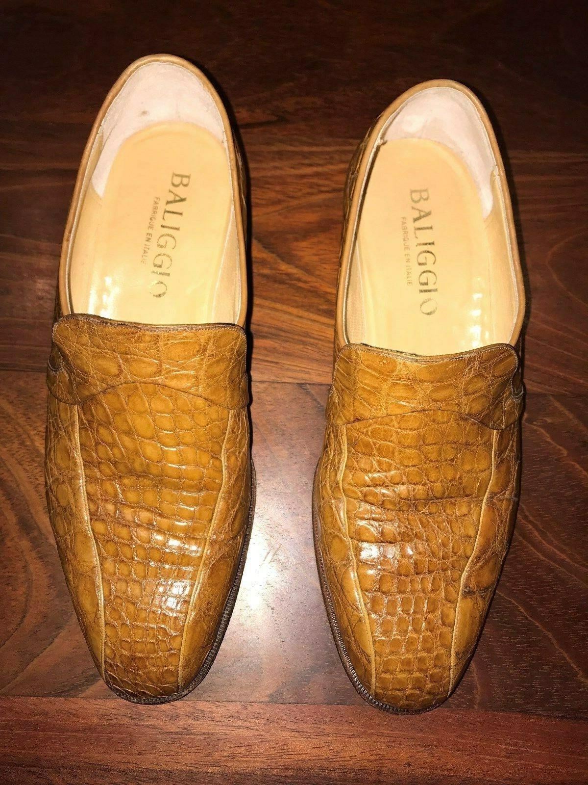 Baliggio, Light Marronee Genuine Crocodile Alligator Skin scarpe.  Men's Dimensione 6 ½