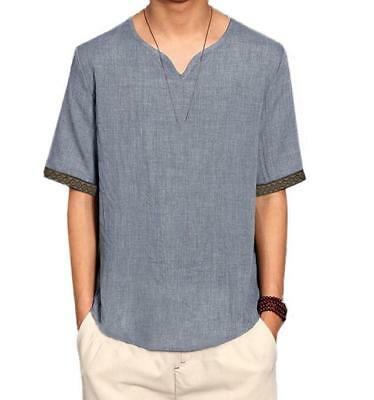 Retro Chinese Mens Linen T Shirt Summer Long Sleeve Breathable Beach Cool Top UK