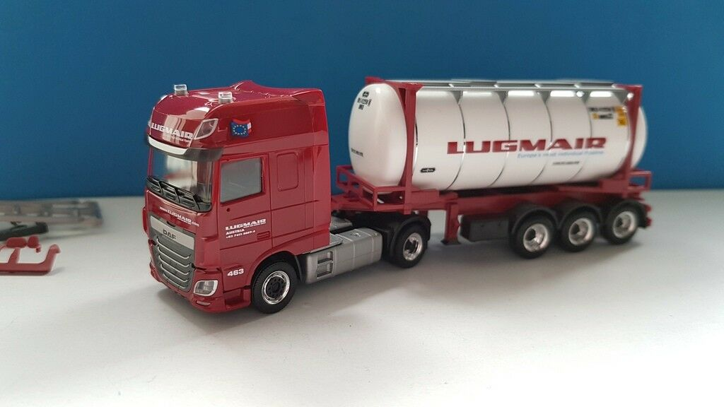 Herpa 932240 daf xf sc 24ft tankcontainer lugmair (a) 87 h0