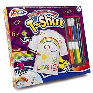 Childrens-Design-amp-Paint-Your-Own-T-Shirt-amp-5-Pens-Inc-Fabric-Stencil-Party-Kit