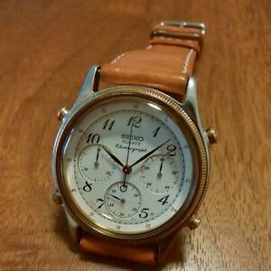 Seiko-Chronograph-Japan-Used-Overhaul-Quartz-Mens-Watch-Authentic-Working