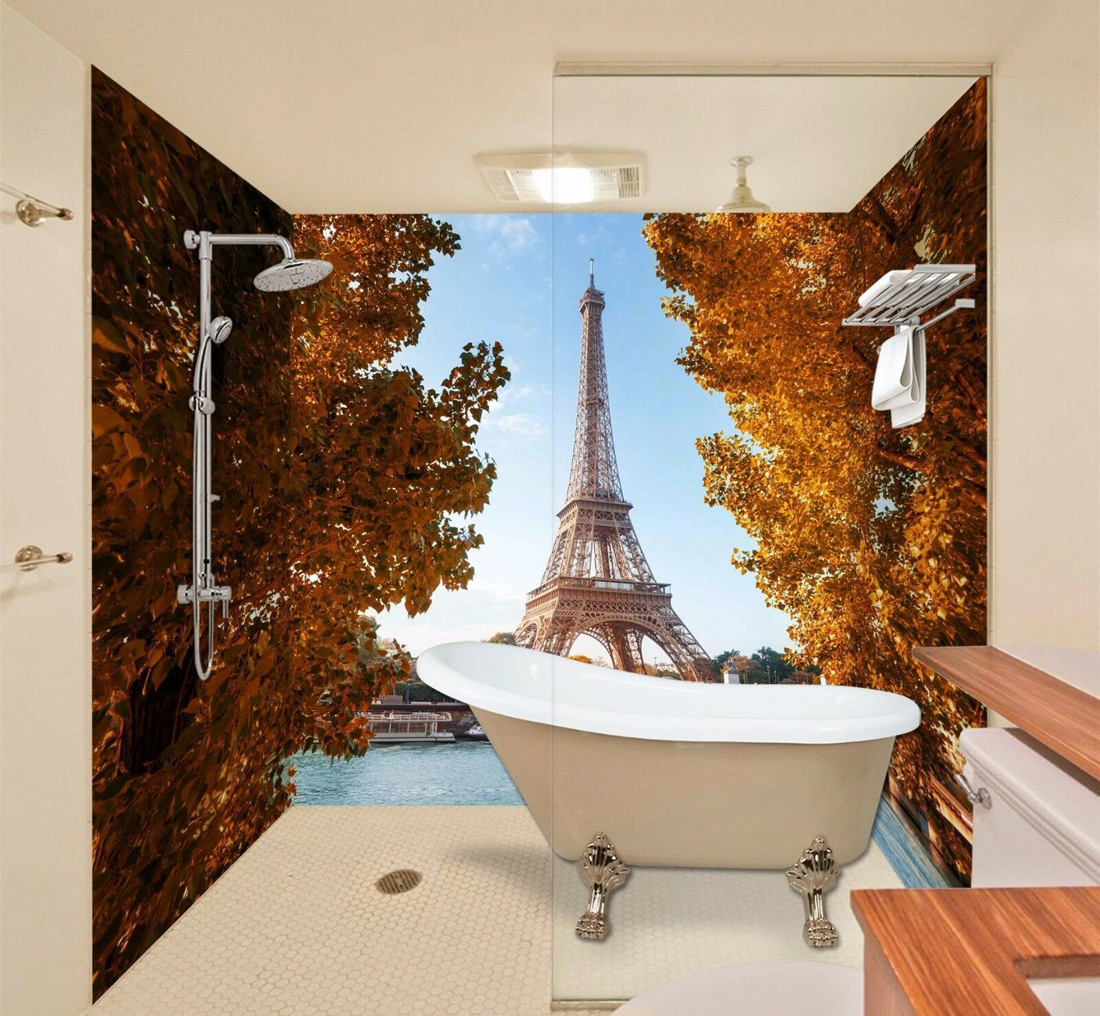 3D Paris Eiffel Tower 4 WallPaper Bathroom Print Decal Wall Deco AJ WALLPAPER AU