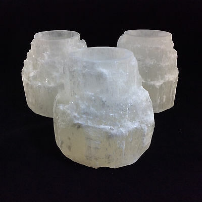 All Natural Large Selenite Tower Drilled Candle Base 1.5 inch bore Crystal Lamp