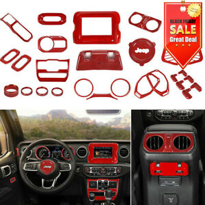 29Pcs/set For 2018+ Jeep Wrangler JL Interior Accessories Cover Trim Kit Red