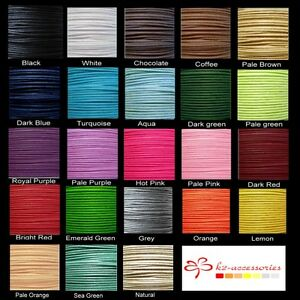 10-Mtrs-1mm-1-5mm-Waxed-Cotton-Thong-Cords-Various-Colour
