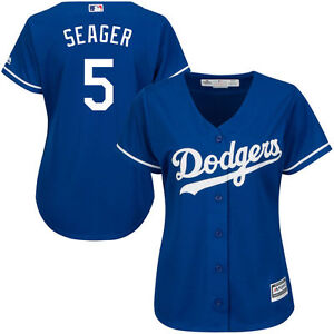 newest 23173 cf8b5 Details about Los Angeles Dodgers Corey Seager #5 New Cool Base Women's  Majestic Jersey - Blue