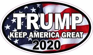 Trump 2020 Decal Oval Vinyl Bumper Sticker Make Keep America Great Again Decal