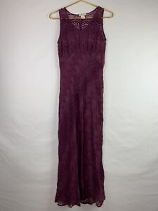 SUNDANCE Womens Size 8 A Time To Remember Purple Crinkle Silk Maxi Dress *Read