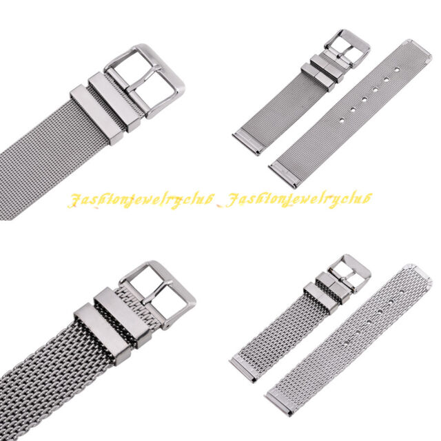Hot Men Women Stainless Steel Clasp Buckle Watch Band Belt Strap 18/20/22/24 mm