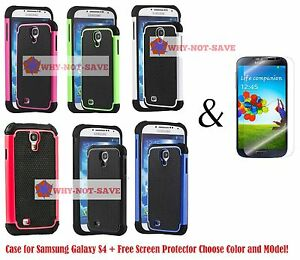 Dual Layer Hybrid Deluxe Rugged Hard Heavy Duty Case Cover for Samsung Galaxy s4