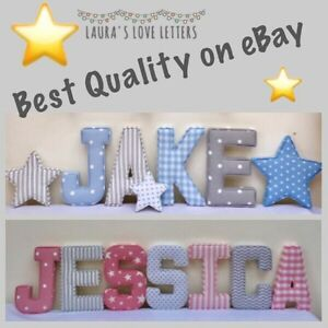 Fabric letters baby gift personalised wall art girl for Fabric covered letters for nursery