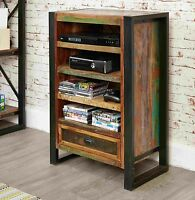 Urban Chic Reclaimed Wood Furniture Tv Dvd Console Entertainment Unit Cabinet